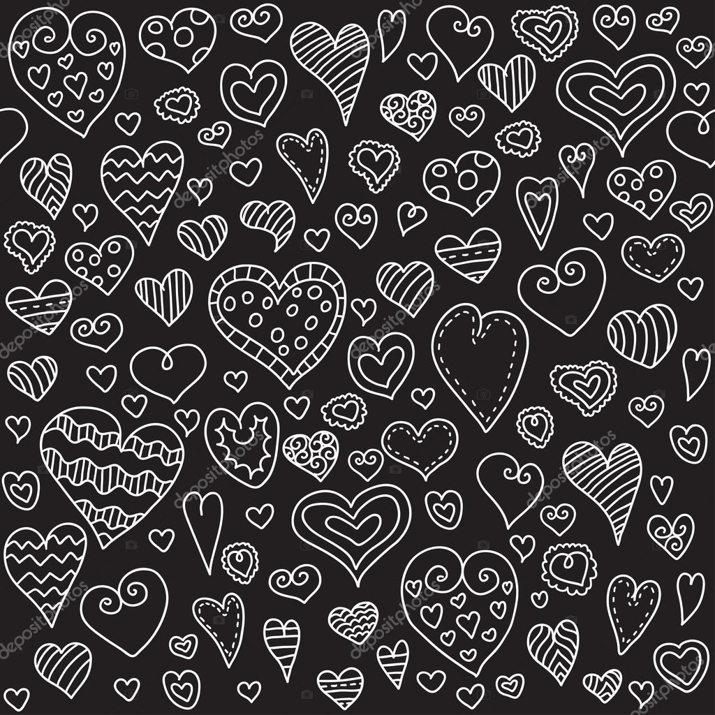 Love hearts seamless pattern. Doodle heart. Romantic background. Valentines day background for invitation.