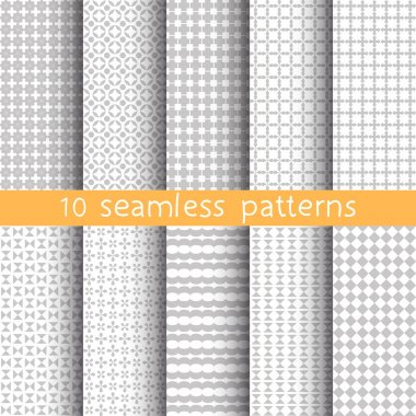 10 Light grey seamless patterns for universal background. Grey and white colors. Endless texture can be used for wallpaper, pattern fill, web page background. Vector illustration for web design.