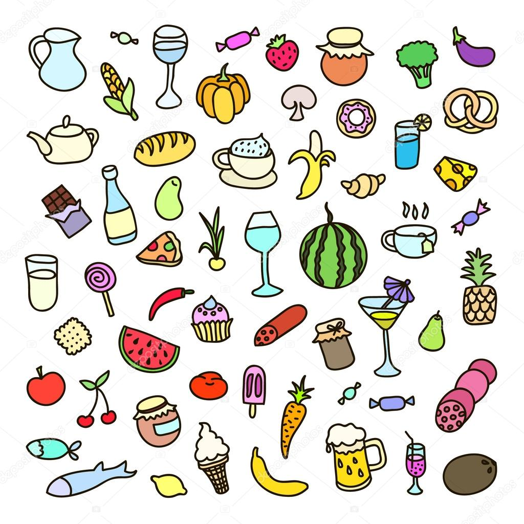 Set of 55 icons on the theme of food, different dishes and cuisines