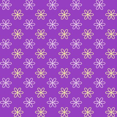 Seamless pattern. Fond purple and yellow colors. Endless texture can be used for printing onto fabric and paper or invitation. Simple flower shape.