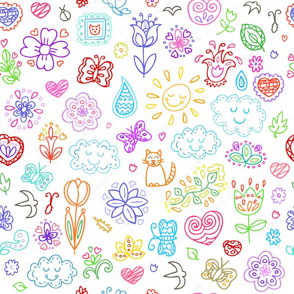 春にはセットがいたずら書き手描花太陽雲蝶季節の花