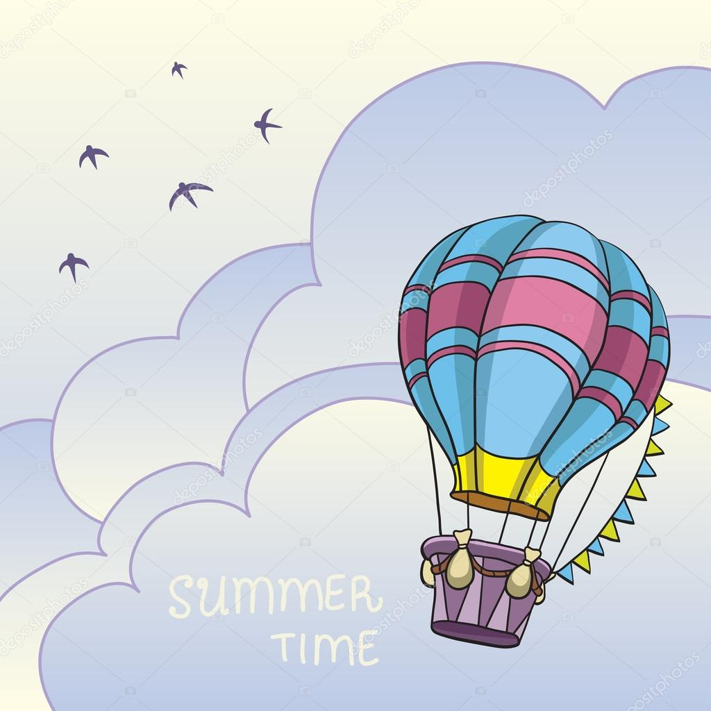 Vector illustration of colorful air balloon in the sky