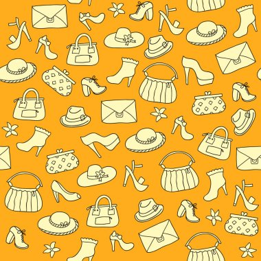 Background of women accessories. Seamless Vector pattern.