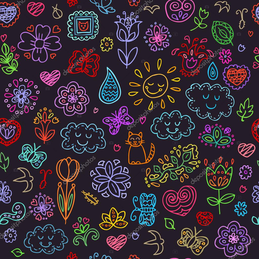 Spring doodles set. Hand draw flowers, sun, clouds, butterflies. Season of the blossom, illustration, cute background.