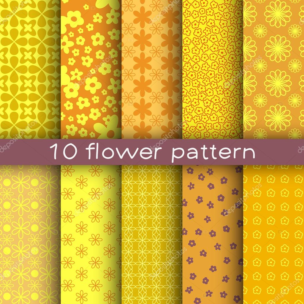 10 different flower vector patterns. Endless texture for wallpaper, fill, web page background, surface texture.
