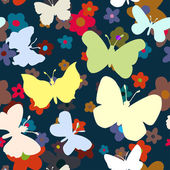 Photo Seamless pattern with butterflies and flowers