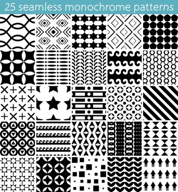 25 seamless monochrome pattern. Vector seamless pattern. Endless texture can be used for printing onto fabric, paper or scrap booking, wallpaper, pattern fills, web page background, surface texture.
