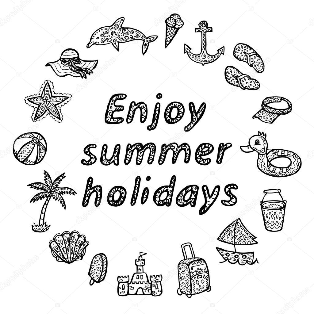 Enjoy summer holidays. Beach icons set