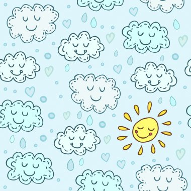 Blue seamless pattern with cute clouds and sun. Childrens shiny background. Endless texture can be used for wallpaper, pattern fills, web page background, surface texture. clip art vector