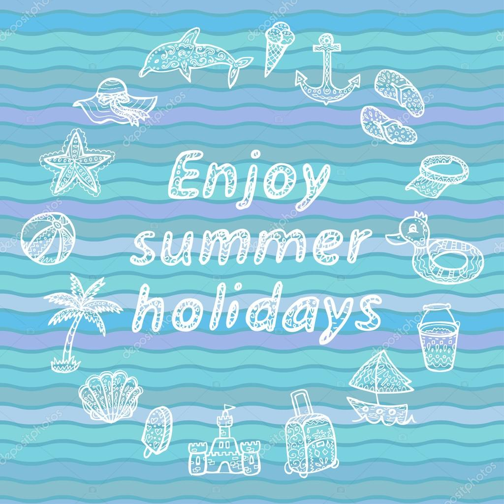 Enjoy summer holidays. Beach icons set