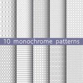 10 monokróm varrat nélküli minták univerzális háttér. Szürke és fehér színben. Végtelen textúra tapéta, mintázatos kitöltéssel, weblapok háttere is felhasználható. Vektoros illusztráció a web design
