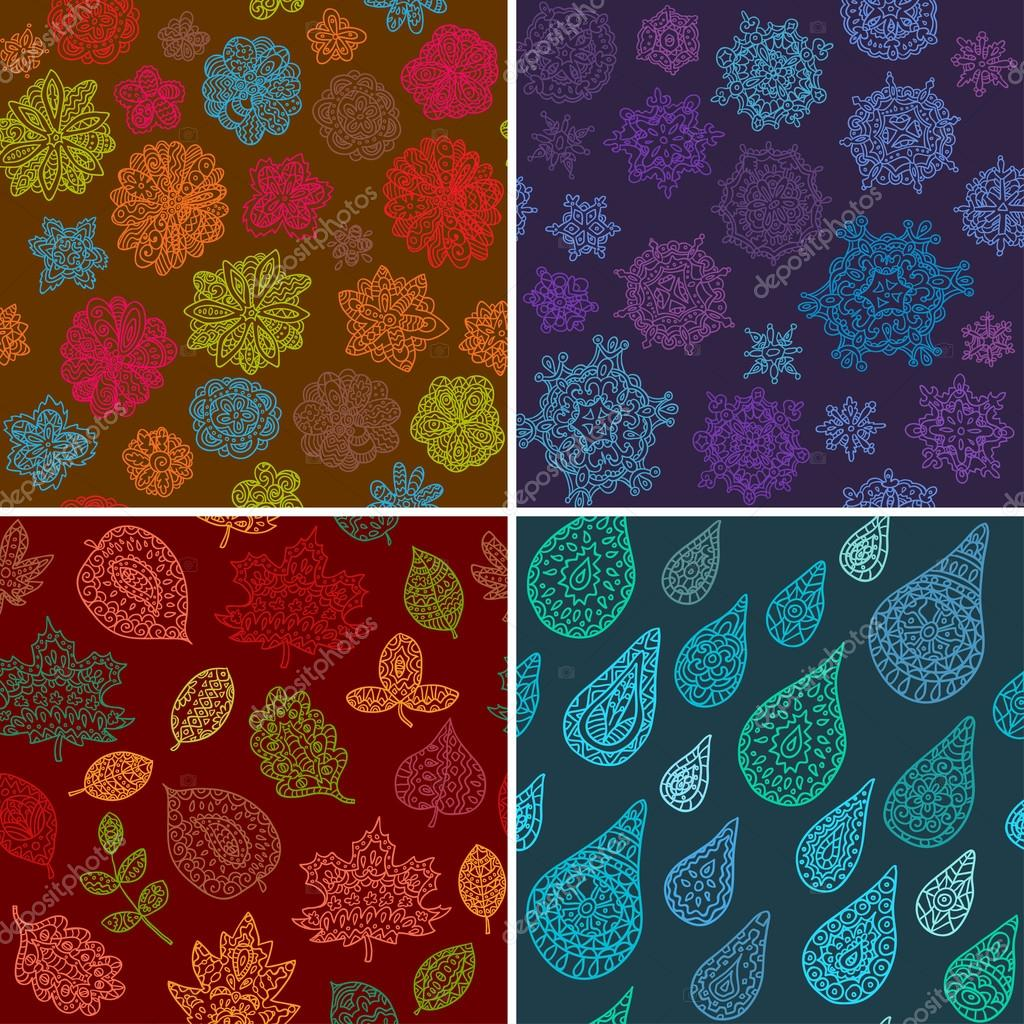 Four Seasons Seamless Pattern
