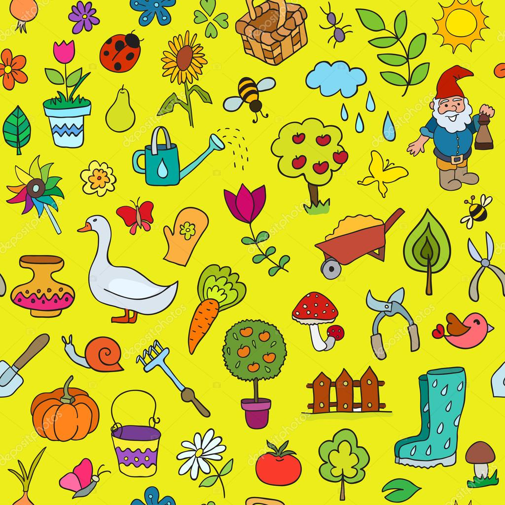 Seamless pattern of gardening objects