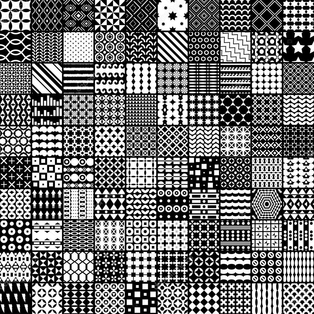 100 monochrome pattern. Vector pattern. Endless texture can be used for printing onto fabric, paper or scrap booking, wallpaper, pattern fills, web page background, surface texture.