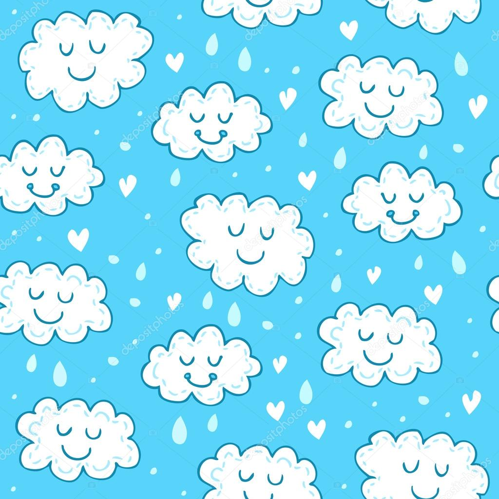 Blue seamless pattern with cute clouds. Childrens shiny background. Endless texture can be used for wallpaper, pattern fills, web page background, surface texture.