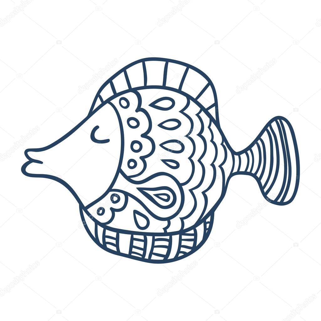 Dibujos animados lindo pescado, línea arte, colorear — Archivo ...