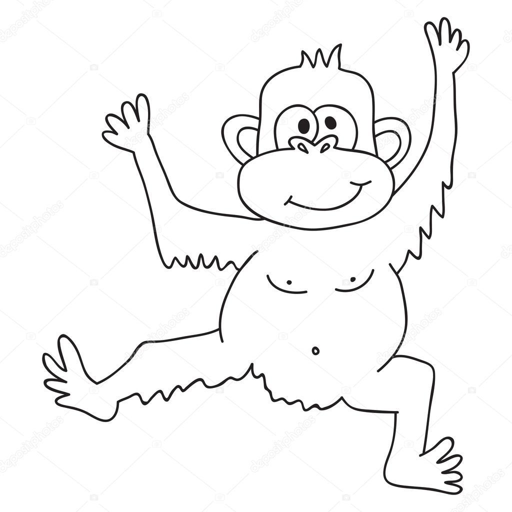 Mono divertido Vector, Ilustración página para colorear de mono ...