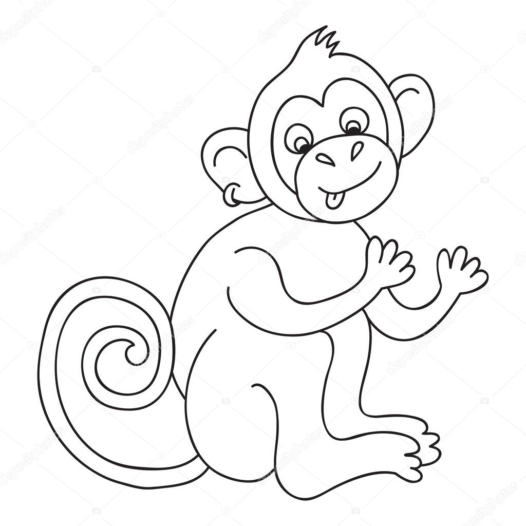 Vector Funny Monkey Illustration Coloring Page Of Happy Monkey