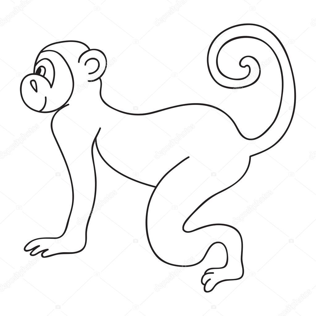 ベクトル変な猿子供幸せな猿のぬりえイラスト ストックベクター