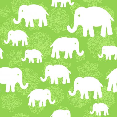Vector floral and elephants seamless wallpaper background pattern design.