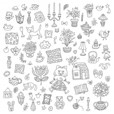 Home sweet home. Set of hand drawn vector home interior doodles. Black and white colors.