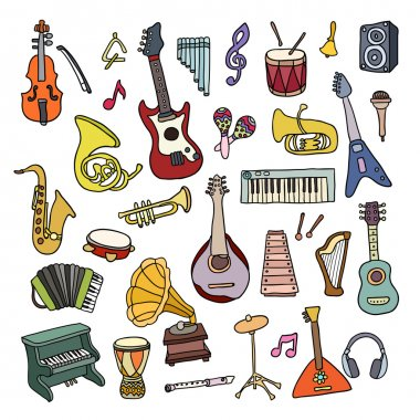 Set of Music Instruments. Beautiful vector design
