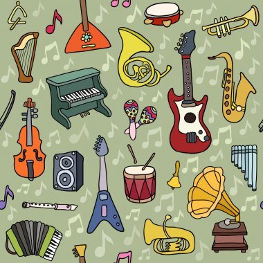 Music seamless pattern. Vector Illustration. Endless texture can be used for printing onto fabric, paper or scrap booking, wallpaper, pattern fills, web page background, surface texture.