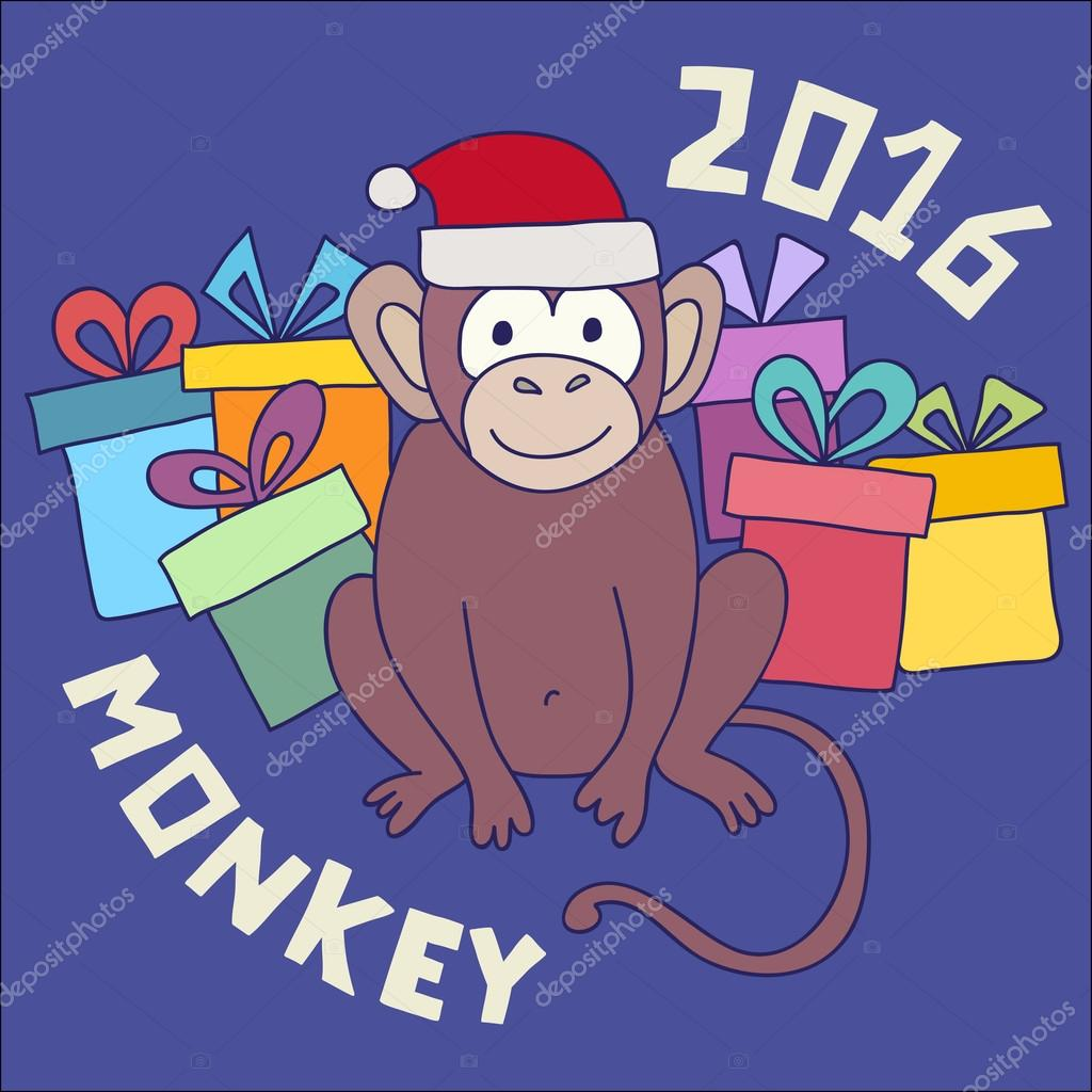 Vector funny monkey, illustration happy monkey for children. Postcard Happy New Year 2016. Year of the Monkey