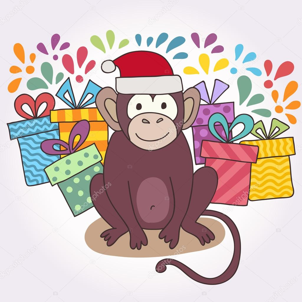 Vector funny monkey, illustration happy monkey for children ...