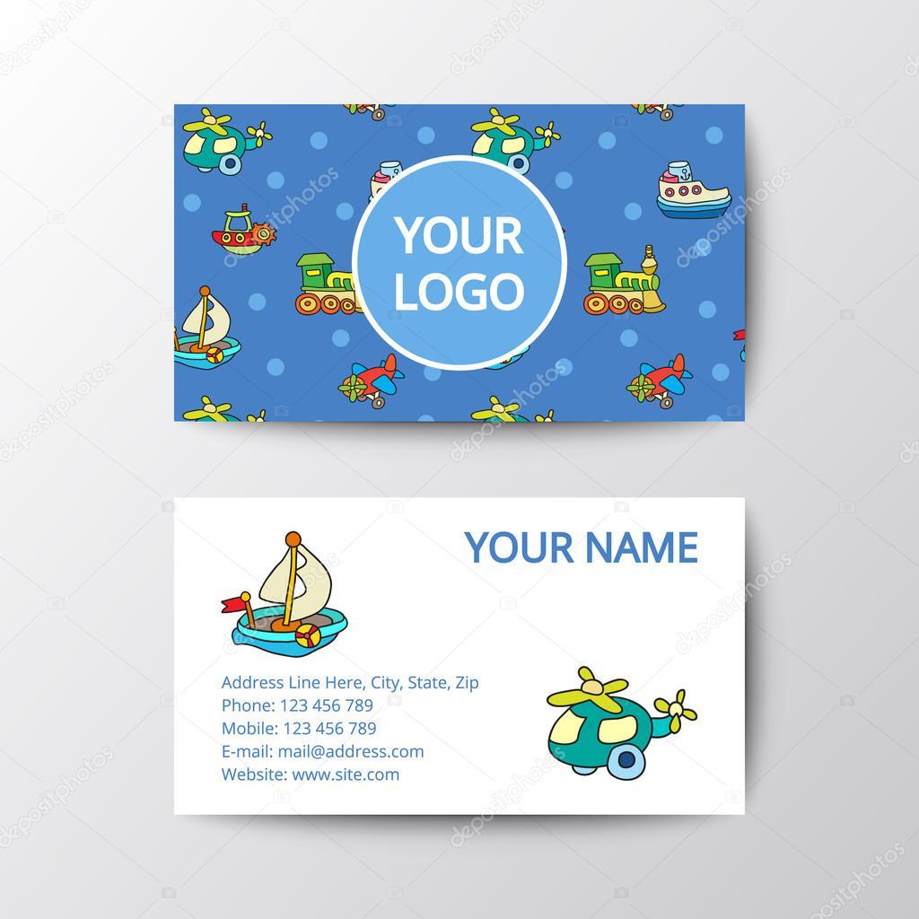 Business card with kids toys. — Stock Vector © Marina_Mandarina ...