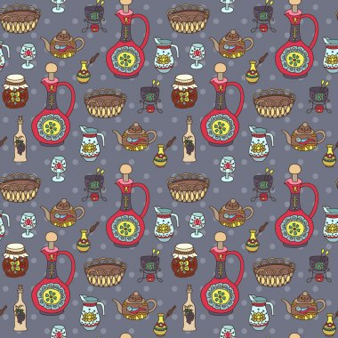 Seamless pattern with kitchen utensil in vintage style.