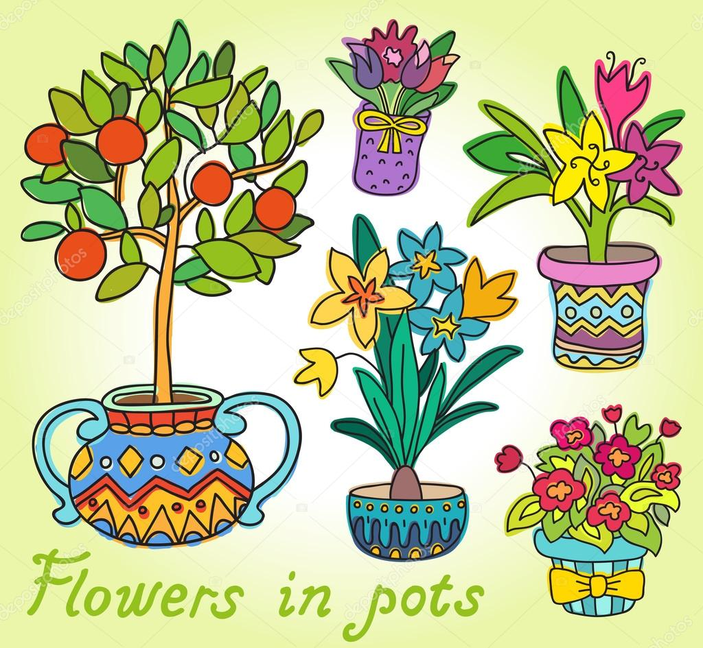 Cute Doodle Colorful Spring Flowers in Pots.