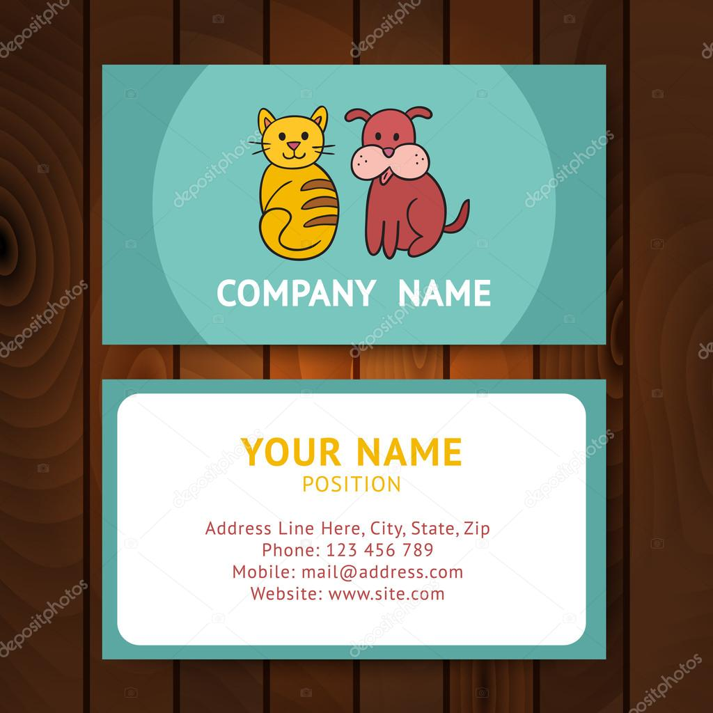 Business card with cat and dog for veterinary clinics or pet-sho ...