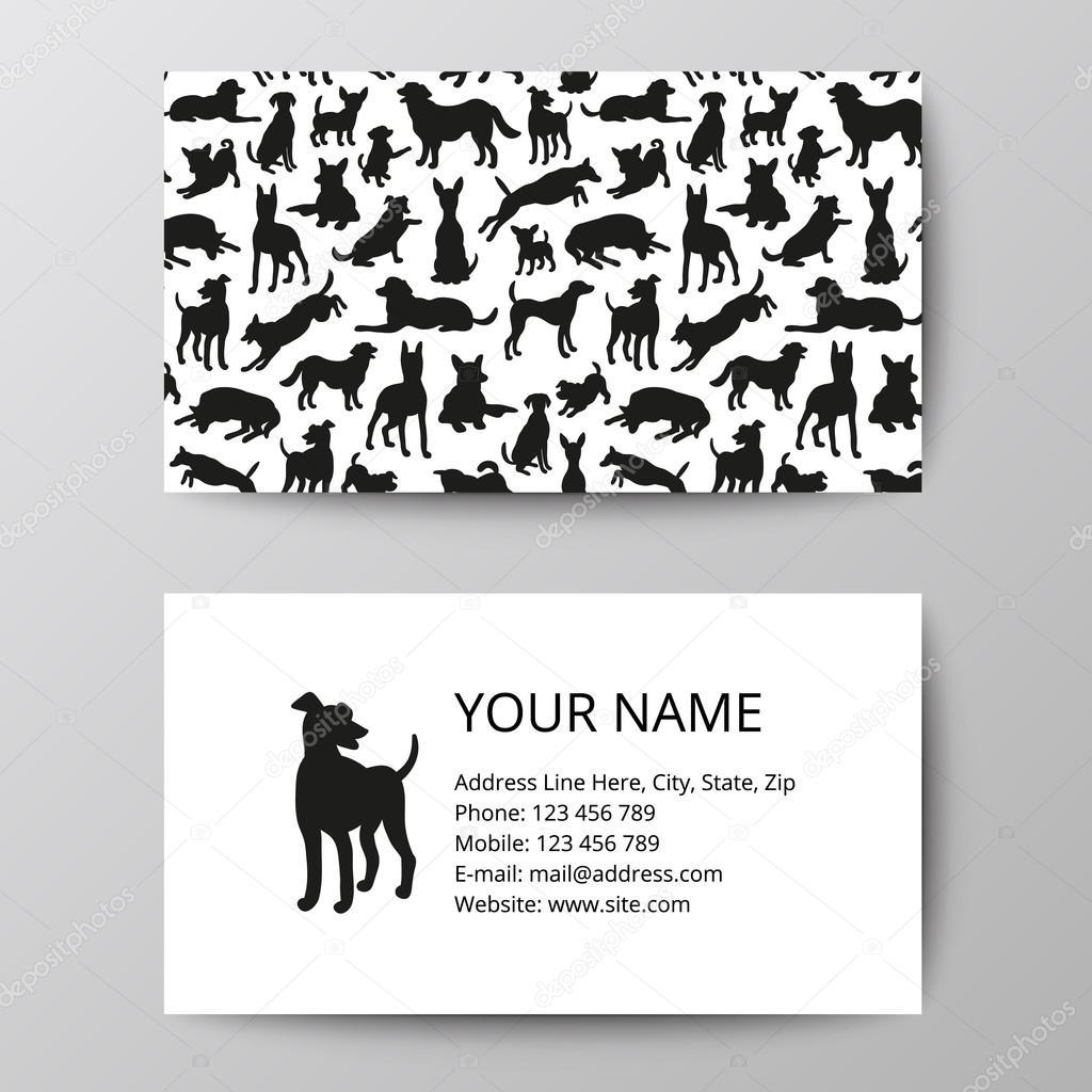 Tarjetas con patrones de siluetas de perros — Vector de stock ...