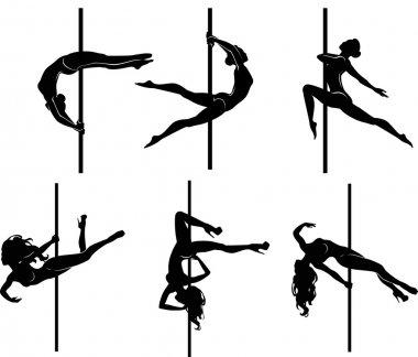Six pole dancers