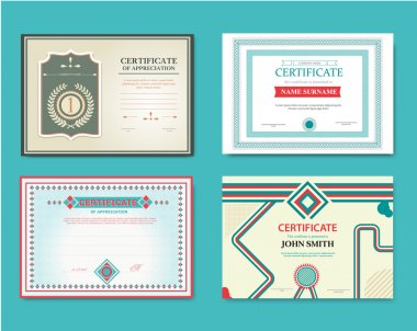 Vector set of gift certificates. Great for certificates, diplomas, and awards. Certificate, Diploma of completion