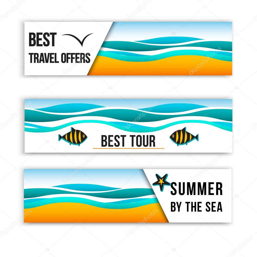 Summer sea banners. Collection of summer inspired headers. Summer Header Banners. Best tour banners.