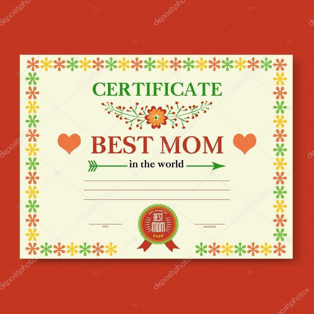 die Vorlage für die Zertifikat-Glückwünsche für Muttertag in Vintage ...