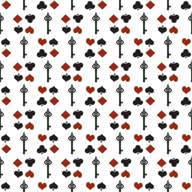 Seamless background with suits. Poker or casino seamless pattern - vector white background with red and black playing card suits and keys. Alice in Wonderland background. stock vector