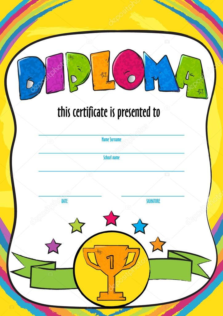 Template vector of child diploma or certificate to be awarded template vector of child diploma or certificate to be awarded kindergarten preschool kids diploma design yelopaper Image collections