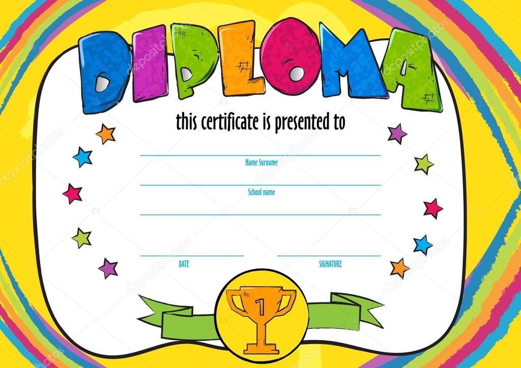 шаблон вектор ребенка диплом или сертификат присуждается Детский  Детский сад дошкольное дети диплом Дизайн шаблона векторные горизонтали сертификат для конкуренции победитель конкурса или спортивные искусства Вектор