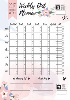 Weekly diet planner. Vector printable page for female notebook, journals or brochure. daily meal planner