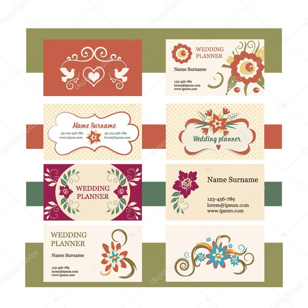 template of vector vintage business cards with floral logo. Ideal ...