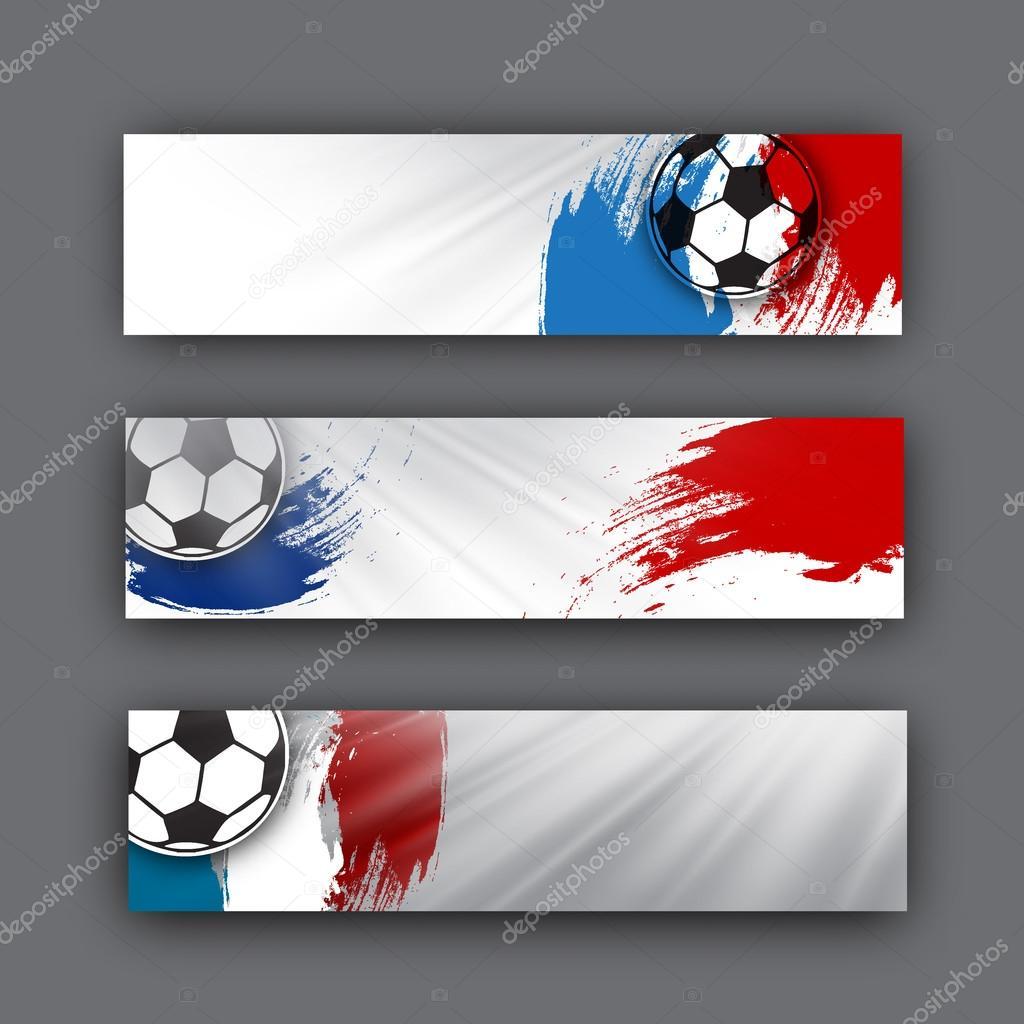d3c7a115a9 Coleção de banners de vetor sobre um tema de futebol. Bola de futebol no  fundo da bandeira. cabeçalho de futebol para o site ou impressão — Vetor  por ...