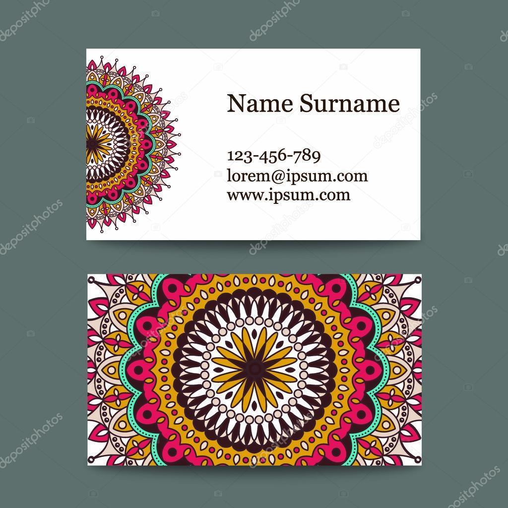 Fabuleux série de cartes de visite au motif national. carte avec le mandala  UC21