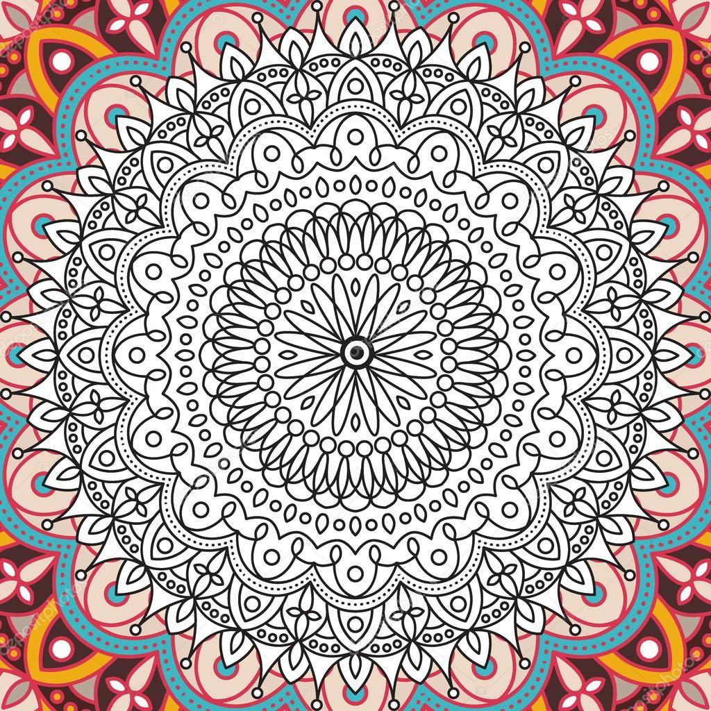 Yazdırılabilir Boyama Kitabı Yetişkinler Mandala Tasarım Büyük