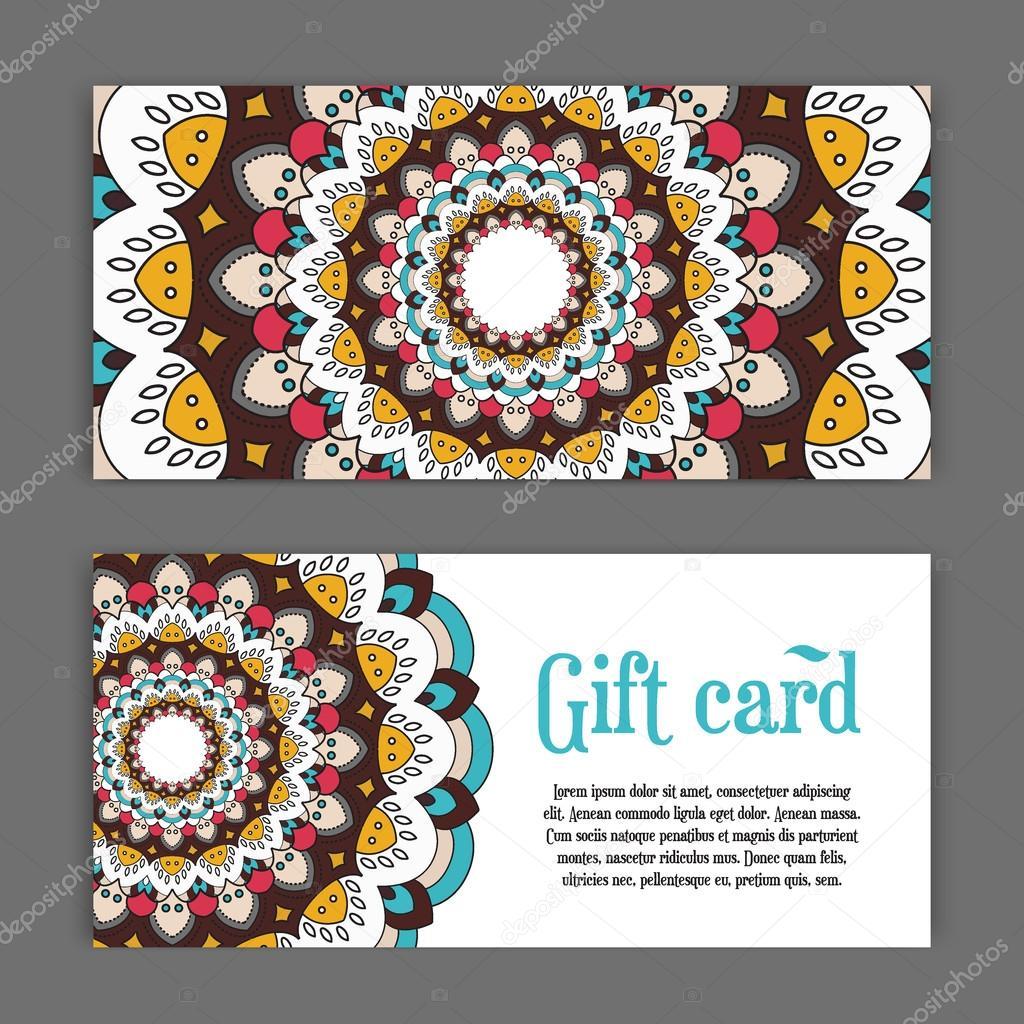 d finir des mod les de cartes cadeaux avec mandala ornement de couleur pour l impression ou le. Black Bedroom Furniture Sets. Home Design Ideas