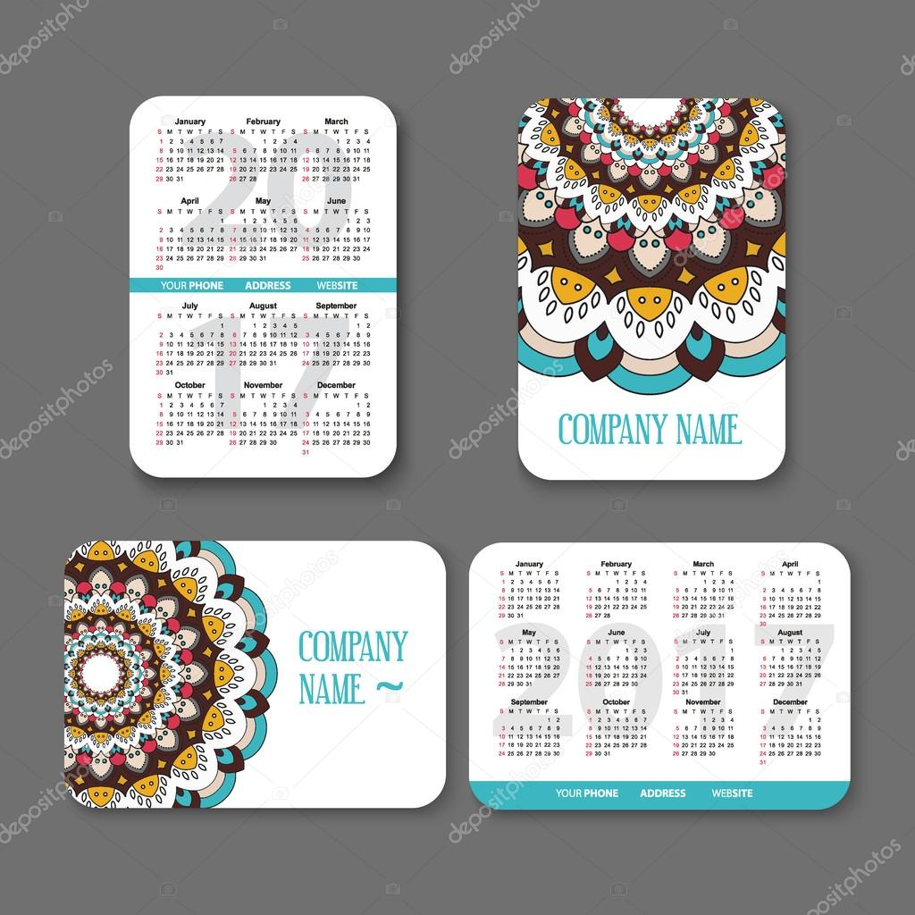 template national design pocket calendar 2017 with colorful mandala. vector illustration. Vertical and horizontal   page