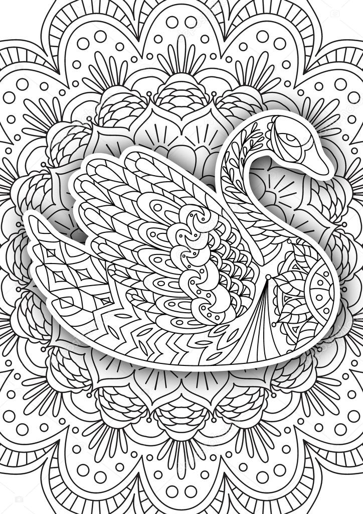 Stock illustration printable coloring book page for adults swan design activity to older children and relax