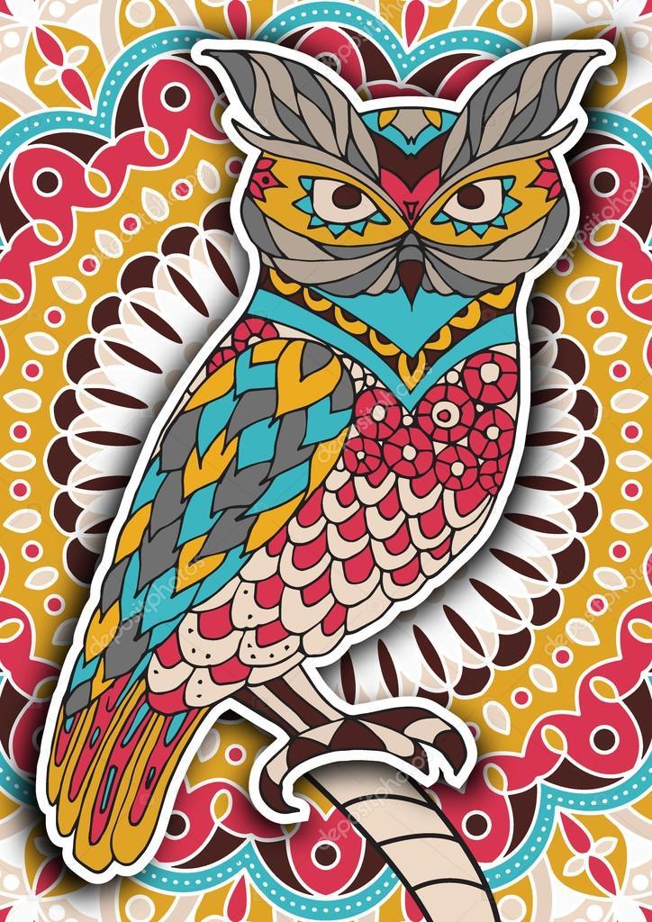 Vector Mandala Buho Libro Para Colorear Para Imprimir La Página